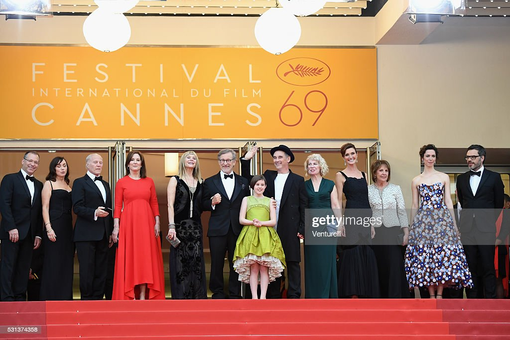 Kristie Macosko, Frank Marshall, Kathleen Kennedy, Kate Capshaw, Steven Spielberg, Ruby Barnhill, Mark Rylance, Claire van Kampen, Lucy Dahl, Penelope Wilton, Rebecca Hall and Jemaine Clement attend 'The BFG (Le Bon Gros Geant - Le BGG)' premiere during the 69th annual Cannes Film Festival at the Palais des Festivals on May 14, 2016 in Cannes, France.