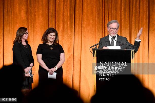 Kristie Macosko Krieger Amy Pascal and Steven Spielberg speak onstage during the National Board of Review Annual Awards Gala at Cipriani 42nd Street...