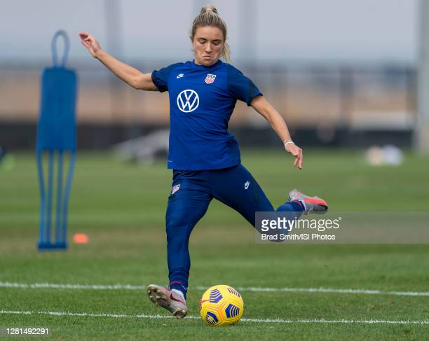 Kristie Mewis of the USWNT takes a shot during a training session at Dick's Sporting Goods Park training fields on October 20 2020 in Commerce City...