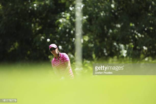 Kristie Smith of Australia chips onto the green of the 3rd hole during day three of the ISPS Handa Australian Open at Royal Canberra Golf Club on...