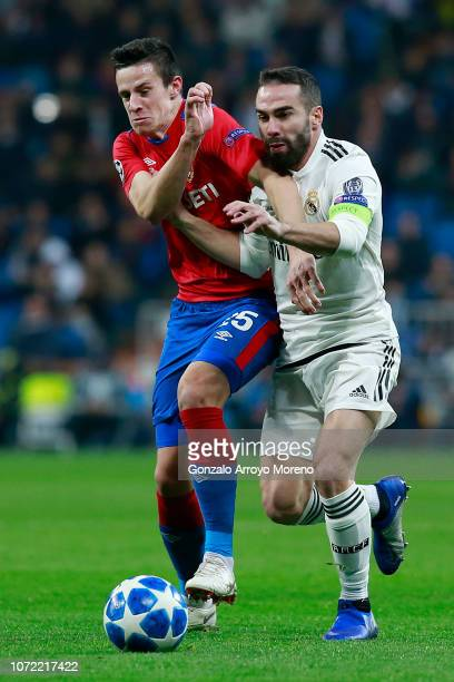 Kristijan Bistrovic of CSK Moscow and Daniel Carvajal of Real Madrid during the UEFA Champions League Group G match between Real Madrid and CSKA...
