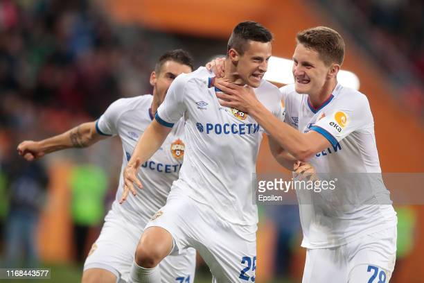 Kristijan Bistrovic of PFC CSKA Moscow celebrates his goal with the teammates during the Russian Football League match between FC Tambov and PFC CSKA...