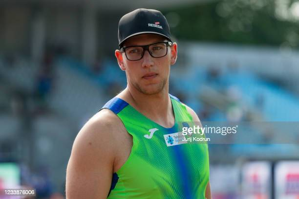 Kristijan Ceh from Slovenia competes during the Men's Discus Throw Qualification during the 2021 European Athletics U23 Championships - Day 1 at...