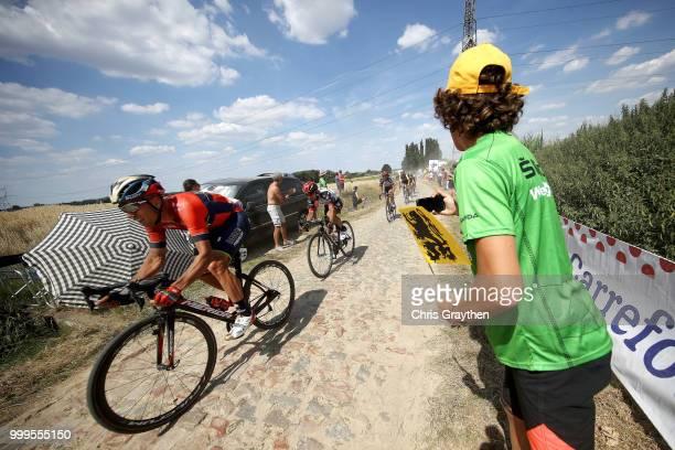 Kristijan Koren of Slovenia and Bahrain Merida Pro Team / Mons En Pevele Cobbles Sector 1 / Pave / during the 105th Tour de France 2018 Stage 9 a...