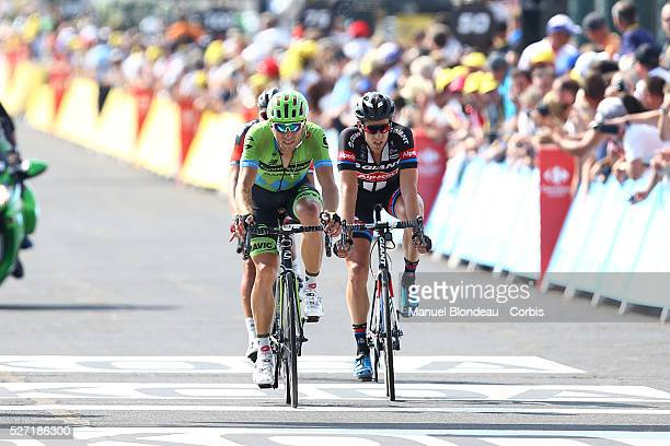 Kristijan Koren of Slovenia riding for Team Cannondale-Garmin looks on as he crosses the finish line during the 2015 Tour of France, Stage 14, Rodez...