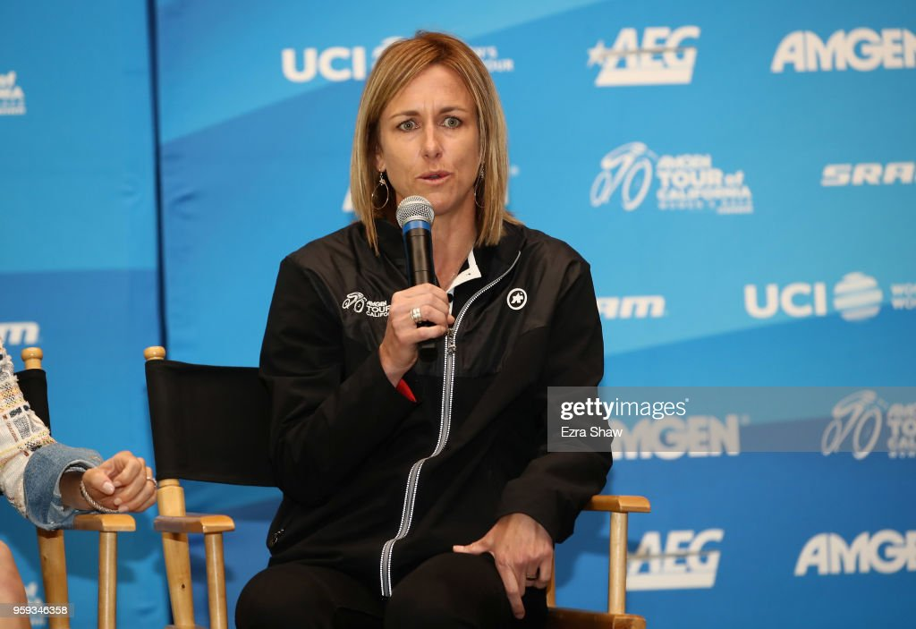 Kristin Armstrong, a former professional road cyclist and three-time Olympic gold medalist, speaks during a pre-race press event for the Amgen Tour of California Women's Race Empowered with SRAM at the Elk Grove Regional Park Pavilion on May 16, 2018 in Elk Grove, California.