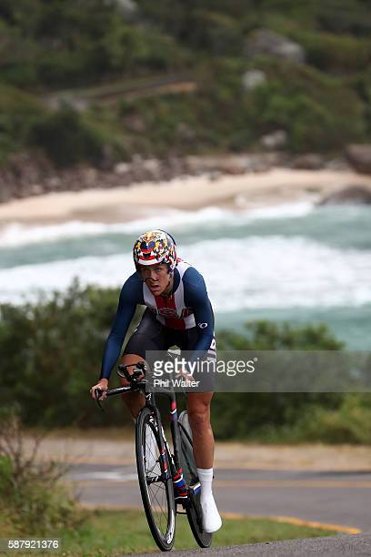 Kristin Armstrong of the United States competes in the Cycling Road Women's Individual Time Trial on Day 5 of the Rio 2016 Olympic Games at Pontal on...