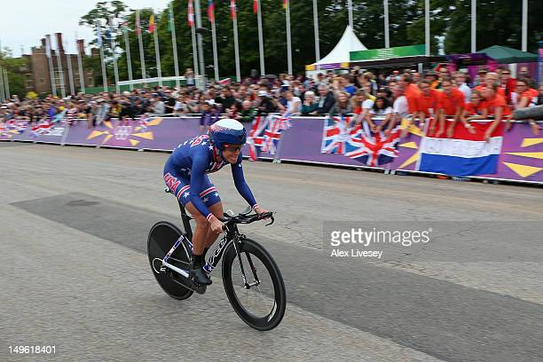 Kristin Armstrong of the United States in action during the Women's Individual Time Trial Road Cycling on day 5 of the London 2012 Olympic Games on...