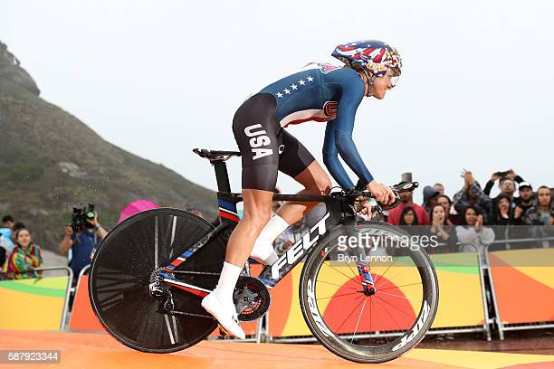 Kristin Armstrong of the United States prepares to start in the Women's Individual Time Trial on Day 5 of the Rio 2016 Olympic Games at Pontal on...