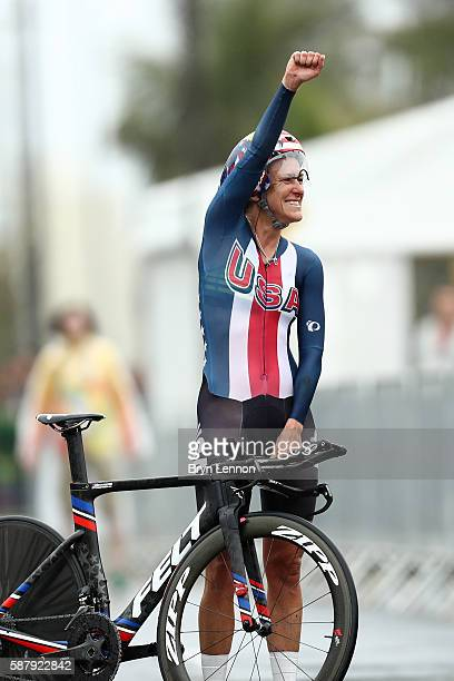 Kristin Armstrong of the United States reacts after winning the Women's Individual Time Trial on Day 5 of the Rio 2016 Olympic Games at Pontal on...