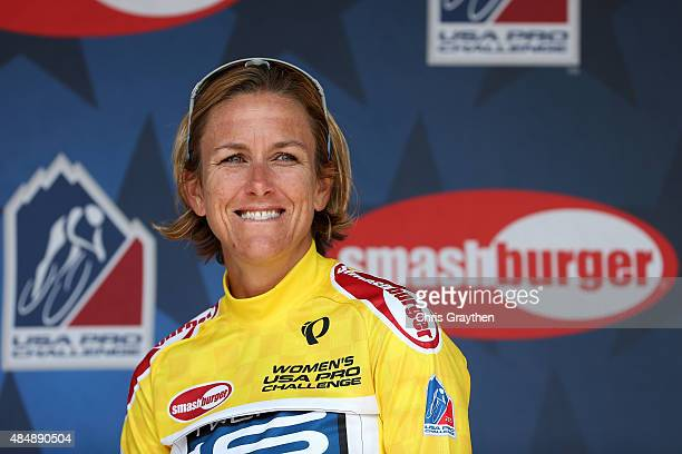 Kristin Armstrong of the United States riding for Twenty 16 p/b SHOAIR in the leader's jersey poses for a photo after stage two from Loveland to Fort...
