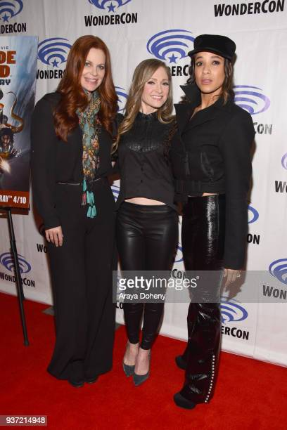 Kristin Bauer van Straten Julie Nathanson and Dania Ramirez attend the Suicide Squad Hell To Pay press conference at WonderCon 2018 Day 1 at Anaheim...