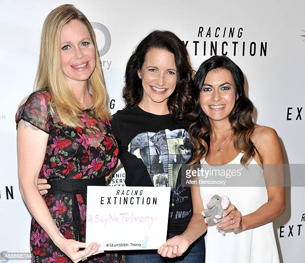 Kristin Bauer van Straten Kristin Davis and Leilani Munter attend the Premiere of Discovery Channel's Racing Extinction at The London West Hollywood...