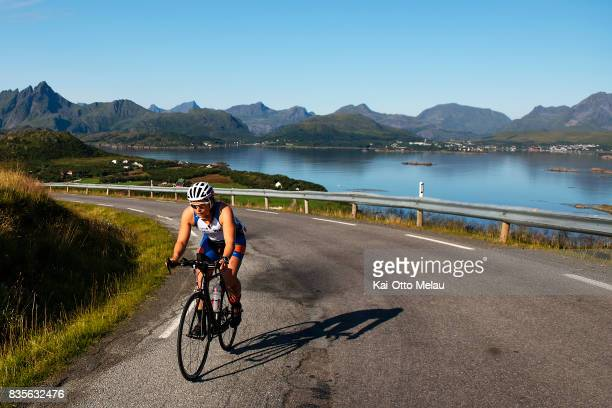 Kristin Brandtsegg Lome on the bikeleg of The Arctic Triple // Lofoten Triathlon Extreme distance on August 19 2017 in Svolvar Norway She won the...