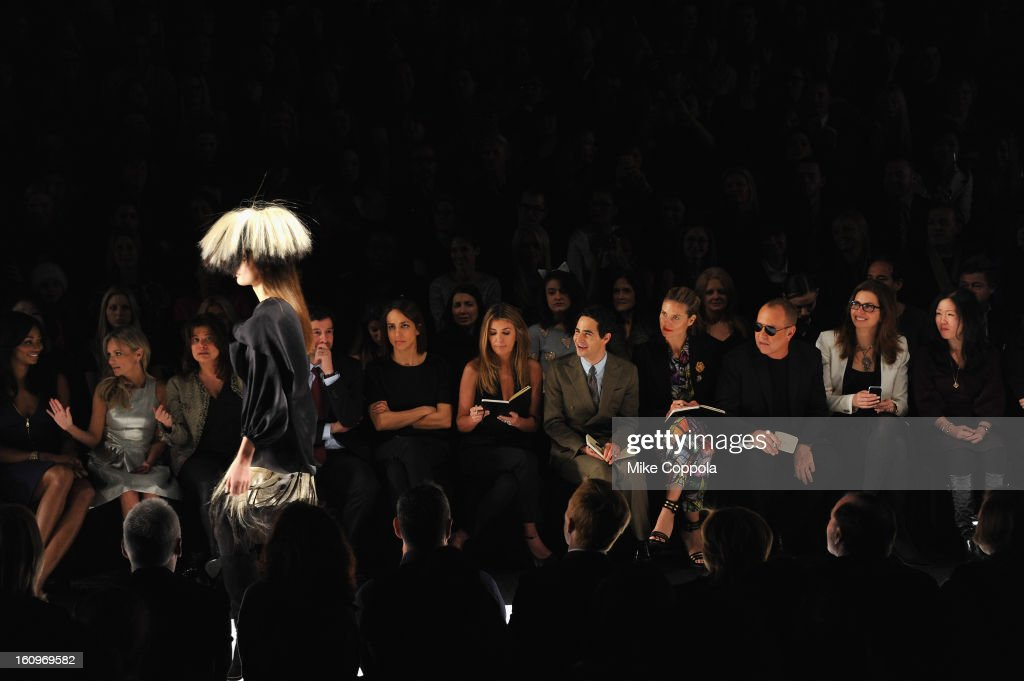 Kristin Chenowerth, Nina Garcia, Zac Posen, Heidi Klum and designer Michael Kors attend the Project Runway Fall 2013 fashion show during Mercedes-Benz Fashion Week at The Theatre at Lincoln Center on February 8, 2013 in New York City.