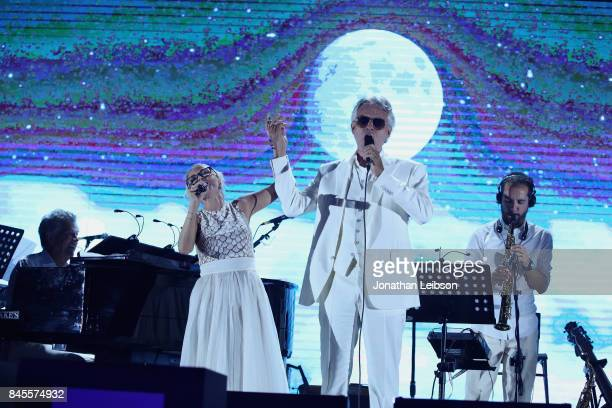 Kristin Chenoweth and Andrea Bocelli perform during the Closing Night Gala at Cinecittà as part of the 2017 Celebrity Fight Night in Italy Benefiting...