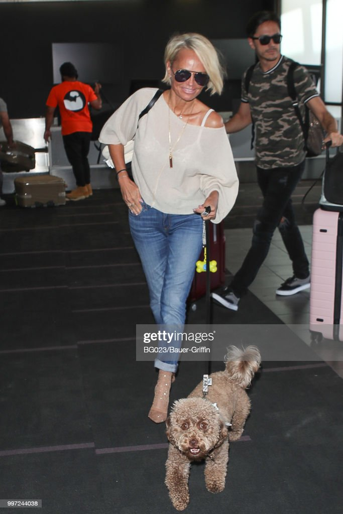 Kristin Chenoweth and her dog, Thunder are seen on July 12, 2018 in Los Angeles, California.