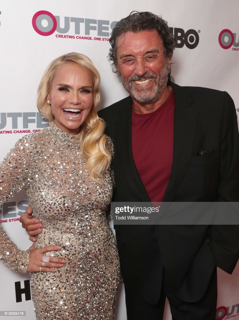 Kristin Chenoweth and Ian McShane attend the 2017 Outfest Los Angeles LGBT Film Festival Opening Night Gala at Orpheum Theatre on July 6, 2017 in Los Angeles, California.
