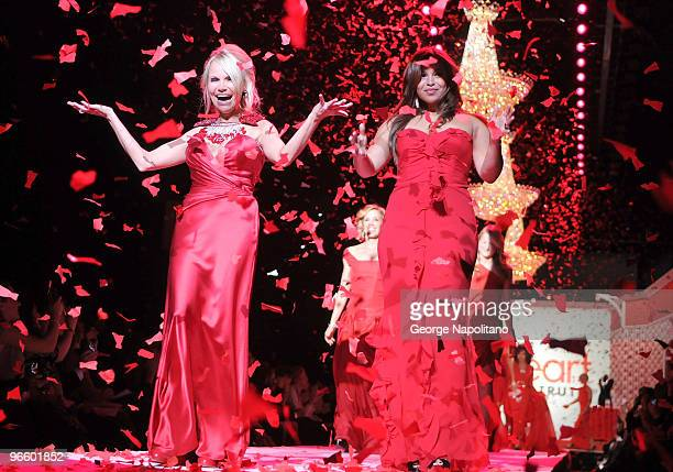 Kristin Chenoweth and Jordin Sparks attend the The Heart Truth Red Dress Collection Fall 2010 fashion show during MercedesBenz Fashion Week at Bryant...
