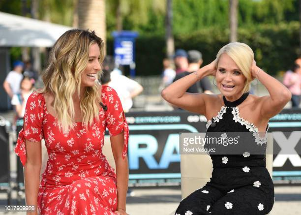 Kristin Chenoweth and Renee Bargh visit 'Extra' at Universal Studios Hollywood on August 16 2018 in Universal City California