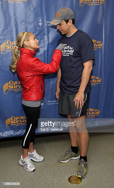 Kristin Chenoweth and Seth Meyers attend 2012 Cycle For Survival - Day 2 at Equinox Graybar on February 12, 2012 in New York City.