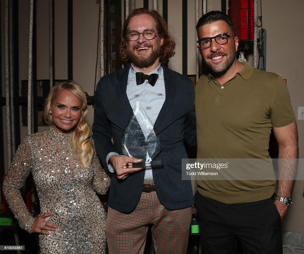 Kristin Chenoweth, Bryan Fuller and Zachary Quinto attend the 2017 Outfest Los Angeles LGBT Film Festival Opening Night Gala at Orpheum Theatre on July 6, 2017 in Los Angeles, California.