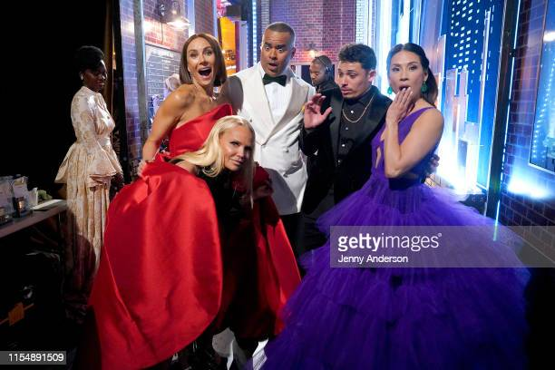 Kristin Chenoweth Laura Benanti Christopher Jackson Anthony Ramos and Lucy Liu pose backstage during the 73rd Annual Tony Awards at Radio City Music...