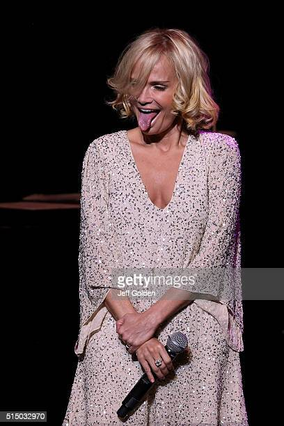 Kristin Chenoweth sticks out her tongue as she performs at Thousand Oaks Civic Arts Plaza on March 11 2016 in Thousand Oaks California