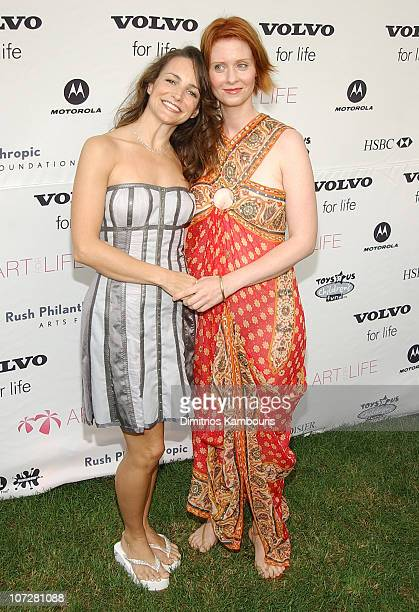 Kristin Davis and Cynthia Nixon during Annual Rush Philanthropic Arts Foundation EventPresented by House of Courvoisier at Russell Simmons Estate in...