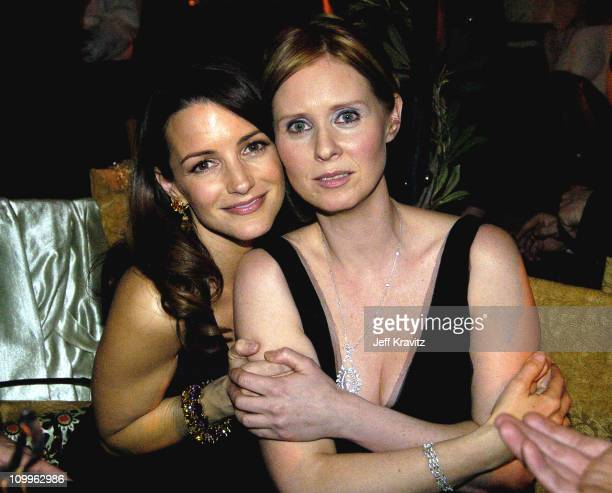 Kristin Davis and Cynthia Nixon during HBO Golden Globe Awards Party Inside at Beverly Hills Hilton in Beverly Hills California United States