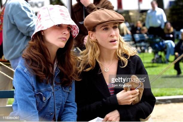 Kristin Davis and Sarah Jessica Parker during Kristin Davis and Sarah Jessica Parker on Location For 'Sex and the City' on May 08 2001 at Central...