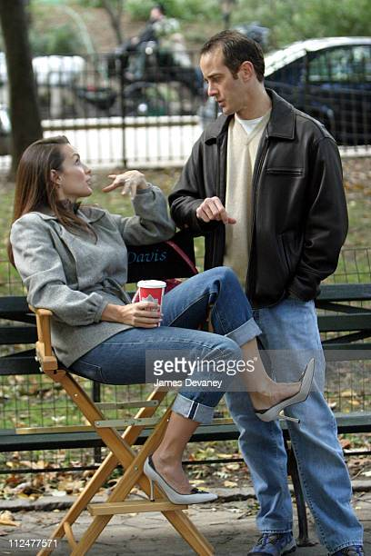 Kristin Davis during Kristin Davis and Mario Cantone on Location for 'Sex and the City' at Central Park in New York City New York United States