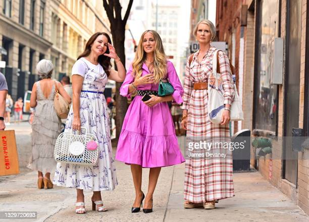 """Kristin Davis, Sarah Jessica Parker and Cynthia Nixon are seen on the set of """"And Just Like That..."""" the follow up series to """"Sex and the City"""" in..."""