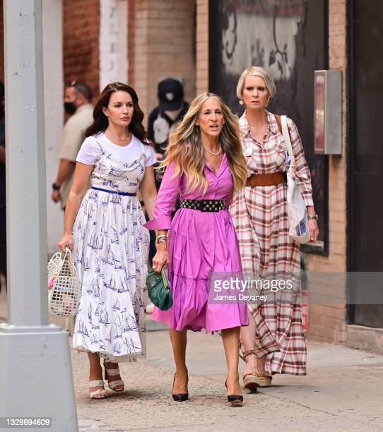 """Kristin Davis, Sarah Jessica Parker and Cynthia Nixon seen on the set of """"And Just Like That..."""" the follow up series to """"Sex and the City"""" in SoHo..."""