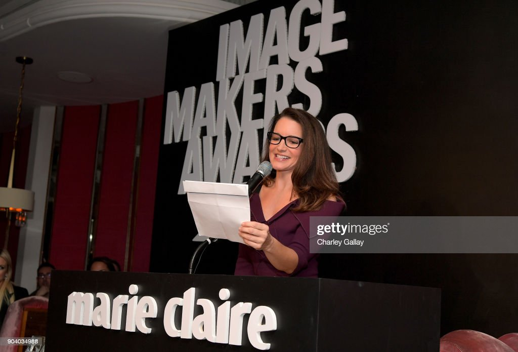 Kristin Davis speaks on stage at the Marie Claire's Image Makers Awards 2018 on January 11, 2018 in West Hollywood, California.