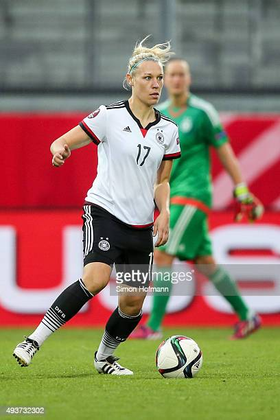 Kristin Demann of Germany controls the ball during the UEFA Women's Euro 2017 Qualifier match between Germany and Russia at BRITAArena on October 22...