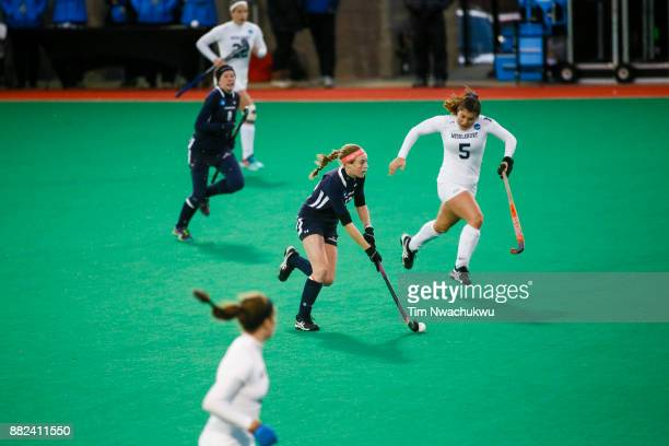 Kristin Donohue of Messiah College dribbles the ball during the Division III Women's Field Hockey Championship held at Trager Stadium on November 19...