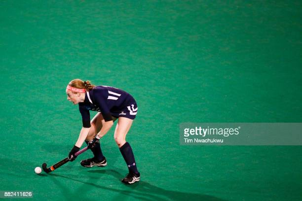 Kristin Donohue of Messiah College looks for an open teammate during the Division III Women's Field Hockey Championship held at Trager Stadium on...