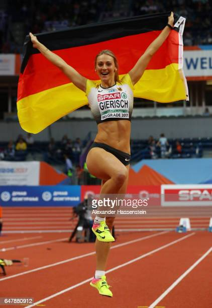 Kristin Gierisch of Germany celebrates after winning the gold medal during the Women's Triple Jump final on day two of the 2017 European Athletics...