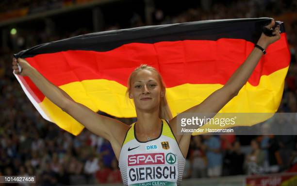 Kristin Gierisch of Germany celebrates winning Silver in the Women's Triple Jump during day four of the 24th European Athletics Championships at...