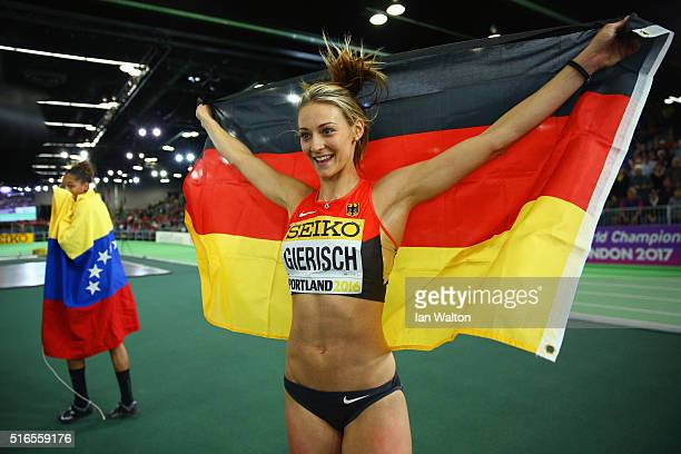 Kristin Gierisch of Germany celebrates winning silver in the Women's Triple Jump Final during day three of the IAAF World Indoor Championships at...