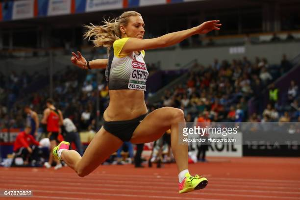Kristin Gierisch of Germany competes in the Women's Triple Jump final on day two of the 2017 European Athletics Indoor Championships at the Kombank...