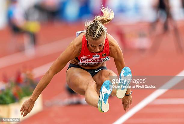 Kristin Gierisch of Germany giving all in during the women's triple jump finals at the Olympic Stadium during Day Five of the 23rd European Athletics...