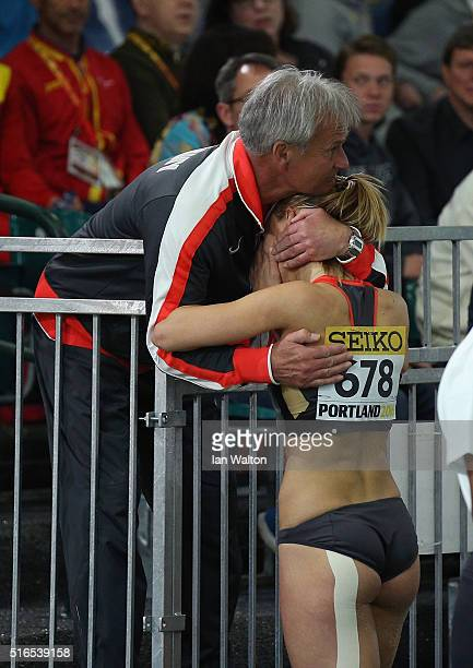 Kristin Gierisch of Germany is congratulated on winning silver in the Women's Triple Jump Final during day three of the IAAF World Indoor...