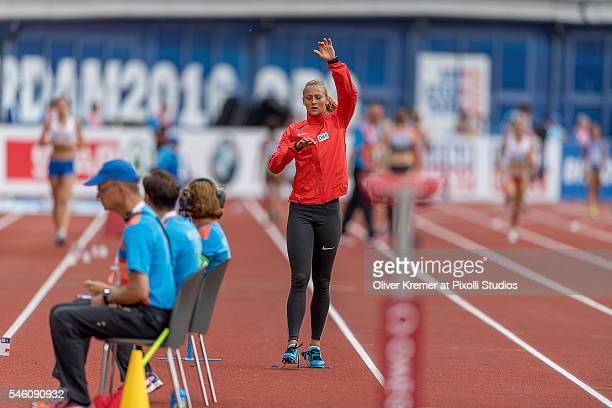 Kristin Gierisch of Germany menthaly preparing for the women's triple jump finals at the Olympic Stadium during Day Five of the 23rd European...