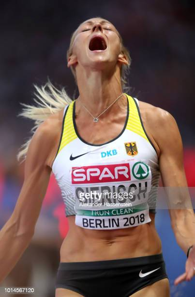 Kristin Gierisch of Germany reacts as she competes in the Women's Triple Jump Final during day four of the 24th European Athletics Championships at...