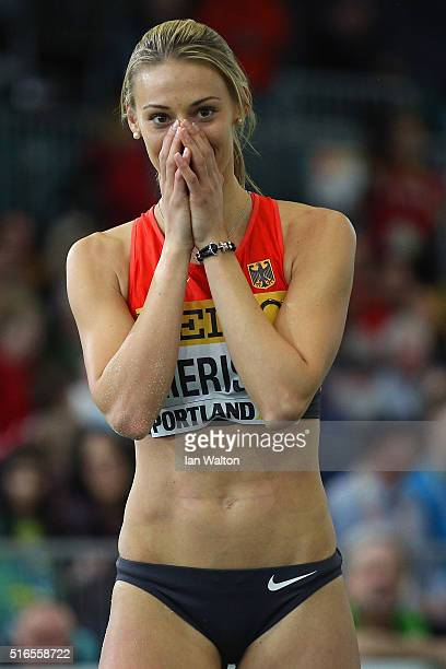 Kristin Gierisch of Germany reacts in the Women's Triple Jump Final during day three of the IAAF World Indoor Championships at Oregon Convention...
