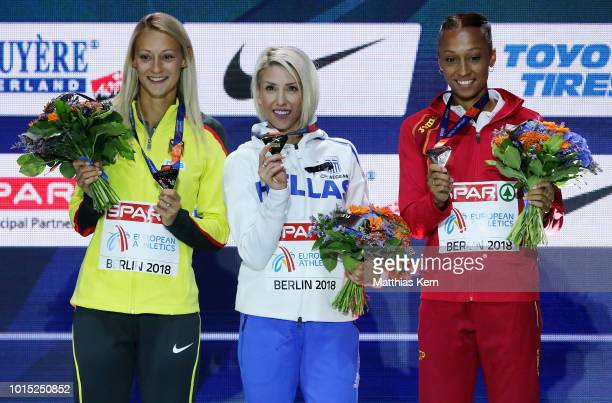 Kristin Gierisch of Germany silver Paraskevi Papahristou of Greece gold and Ana Peleteiro of Spain bronze pose with their medals for the Women's...