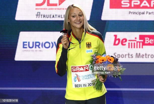 Kristin Gierisch of Germany silver poses with her medal for the Women's Triple Jump during day five of the 24th European Athletics Championships at...