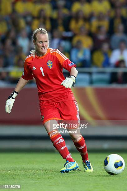 Kristin Hammarstroem of Sweden kicks the ball during the UEFA Women's EURO 2013 Group A match between Finland and Sweden at Gamla Ullevi Stadium on...